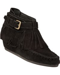 Ash Spot Wedge Boot Black Suede - Lyst