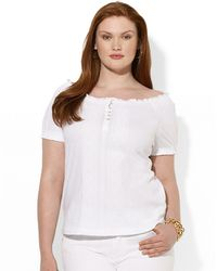 Lauren by Ralph Lauren Plus Embroidered Smocked Cotton Top - Lyst