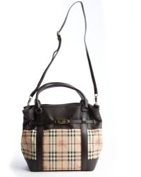 Burberry Brown Nova Check and Leather Trimmed Top Handle Bag - Lyst