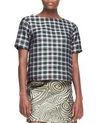 Suno Short-sleeve Plaid Top - Lyst