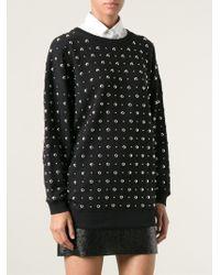 Saint Laurent Black Studded Sweatshirt - Lyst