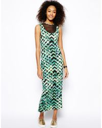 Monki Printed Bodyconscious Dress with Mesh Inserts - Lyst