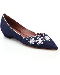 Tabitha Simmons Daisy Chain Embroidered Denim Flats - Lyst