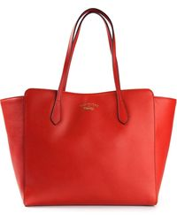 Gucci Red Swing Tote - Lyst