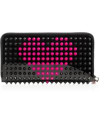 Christian Louboutin Panettone Spiked Patent-Leather Wallet black - Lyst