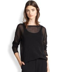 Ralph Lauren Black Label Sheer Knit Pullover - Lyst