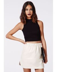 Missguided Abi Curve Hem Faux Leather Skirt White - Lyst