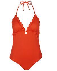 Topshop Plunge Scallop Swimsuit - Lyst