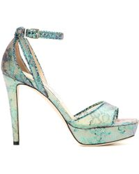 Jimmy Choo Kayden Lace And Snakeskin Platform Sandals - Lyst