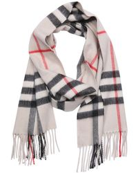 Burberry Stone Check Cashmere Woven Giant Icon Fringe Detail Scarf - Lyst