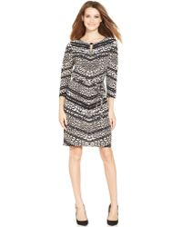 Tahari By Asl Multiprint Belted Shift - Lyst