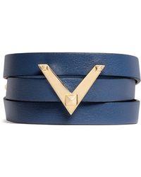 Valentino | 'v Rockstud' Triple Wrap Leather Bracelet | Lyst