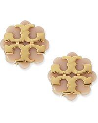 Tory Burch Resin Flower Logo Stud Earrings - Lyst