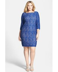 Adrianna Papell Lace Overlay Sheath Dress - Lyst