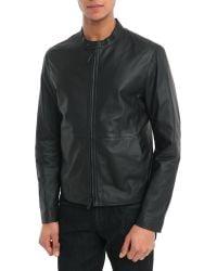 Armani Black Soft Leather Jacket - Lyst