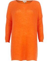River Island Orange Mohair Knit Dress - Lyst