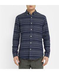 Club Monaco Slim-fit Patterned Woven-cotton Shirt - Lyst