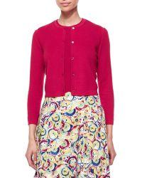 Carolina Herrera Cashmere-Silk Button Cardigan pink - Lyst
