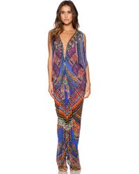 Camilla Long Drape Dress multicolor - Lyst