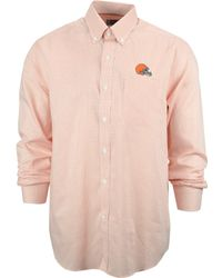 Cutter & Buck Men'S Cleveland Browns Tattersall Dress Shirt - Lyst