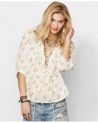 Denim & Supply Ralph Lauren Floral-Print Lace-Up Peasant Top - Lyst