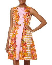 Donna Morgan Sleeveless Fit and flare Floral Poplin Dress - Lyst