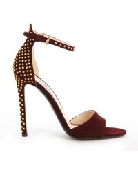 Prada Bordeaux Suede Gold Studded Anklestrap Open Toe Pumps - Lyst