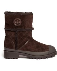 Tory Burch Boughton Quilted Suede Shearling Boots - Lyst