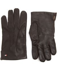 Tommy Hilfiger Classic Brown Leather Gloves - Lyst