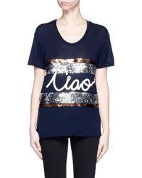 Lanvin | 'ciao' Slogan Sequin Stripe T-shirt | Lyst