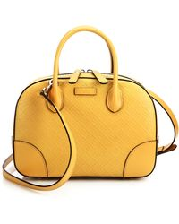Gucci Bright Diamante-Leather Top-Handle Bag yellow - Lyst