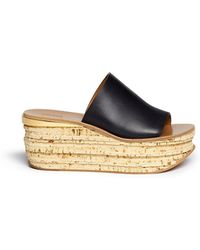 Chloé Cork Wedge Leather Mule Sandals - Lyst