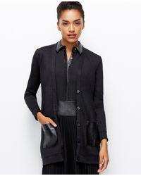Ann Taylor Faux Leather Pocket Cardigan - Lyst