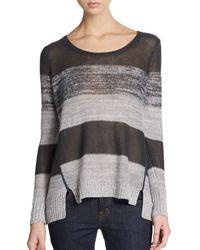 Eileen Fisher Striped Hi-lo Sweater - Lyst