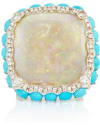 Nina Runsdorf 18K White Gold White Opal Ring With Turquoise multicolor - Lyst