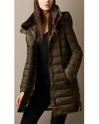Burberry Down-filled Coat with Shearling Collar - Lyst