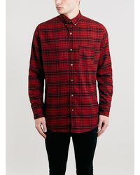 Topman Red and Black Check Skater Fit Long Sleeve Shirt - Lyst
