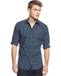 Calvin Klein Jeans Blue Plaid Shirt - Lyst