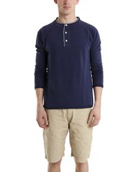 V::room Long Sleeve Raglan Henley In Navy blue - Lyst