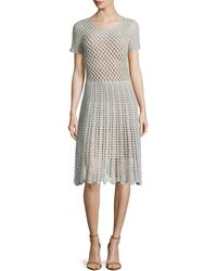Michael Kors Short-Sleeve Crochet Dress - Lyst