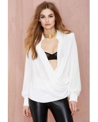 Nasty Gal Mlm Saw Her Standin' There Chiffon Blouse - Lyst