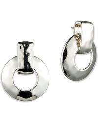 Anne Klein - Silvertone Hammered Drop Earrings - Lyst
