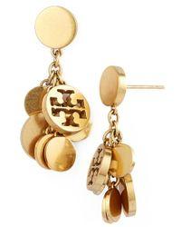 Tory Burch Logo Charm Drop Earrings - Worn Gold - Lyst