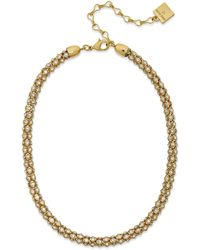 Anne Klein Gold-Tone Pave Accent Tubular Collar Necklace - Lyst