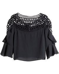H&M Wide Lace Blouse - Lyst