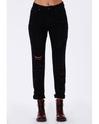 Missguided Slim Fit Extreme Rip Mom Jean Black - Lyst