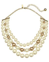 Kate Spade Parlour Pearls Triple Strand Necklace - Lyst