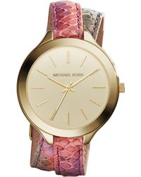 Michael Kors Slim Runway Gold-Toned and Embossed-Leather Watch - Lyst