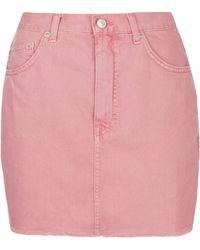 Topshop Moto Frayed Hem Denim Skirt  Rose - Lyst