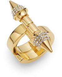 Vita Fede - Babylon Double Spike Crystal Ring/goldtone - Lyst